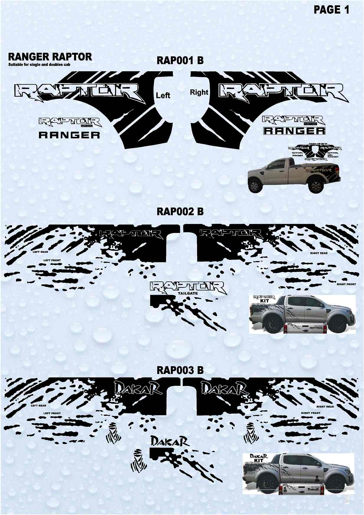 Raptor Ranger Stickers 4 X 4 Stickers Collection 1