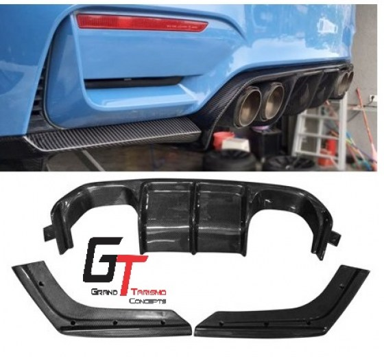 BMW F80 M3 F82 M4 V-Style Carbon Fibre Rear Diffuser 3pc.pd
